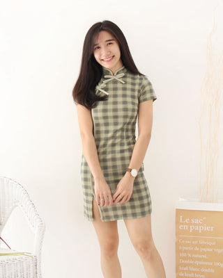 Green Checkered Cheongsam - LovelyMadness Clothing Online Fashion Malaysia