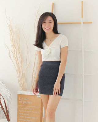 Grey Knitted Tight Skirt - LovelyMadness Clothing Online Fashion Malaysia