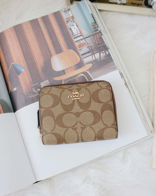 COACH SMALL ZIP AROUND WALLET IN SIGNATURE CANVAS - LovelyMadness Clothing Online Fashion Malaysia