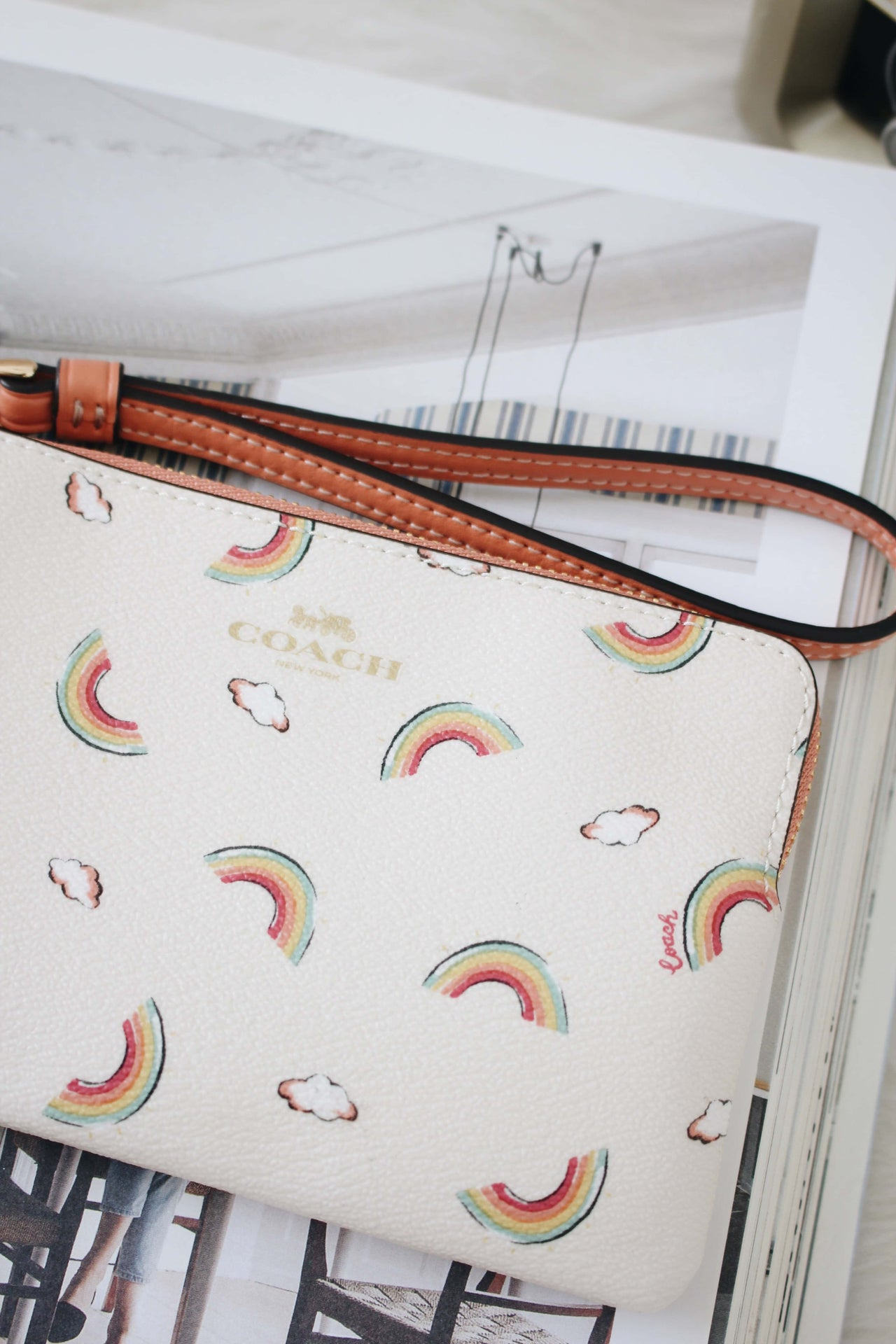 COACH CORNER ZIP WRISTLET WITH ALLOVER RAINBOW PRINT - LovelyMadness Clothing Online Fashion Malaysia