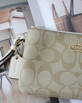COACH DOUBLE CORNER ZIP WALLET IN SIGNATURE COATED CANVAS - Lovely Madness