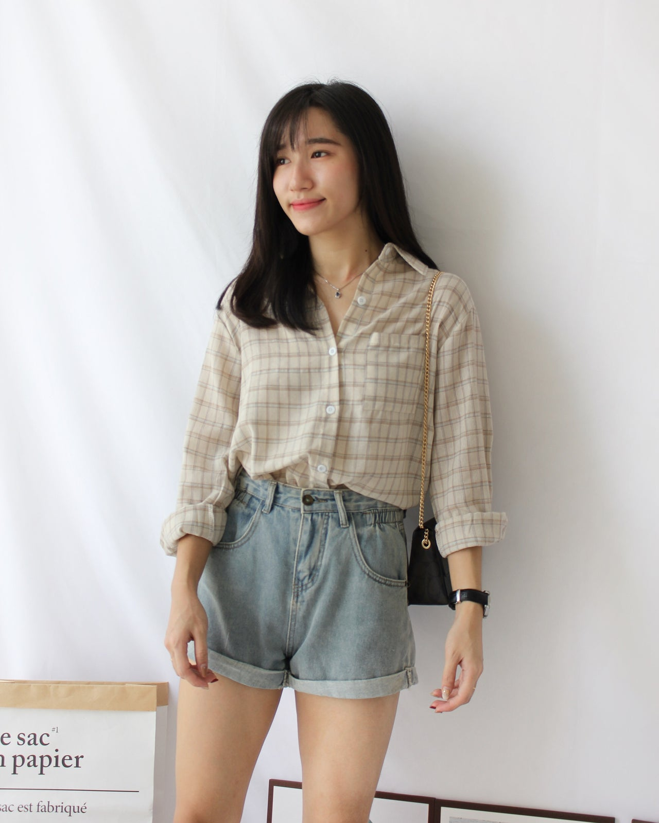 Ramie Checkered Blouse - LovelyMadness Clothing Online Fashion Malaysia
