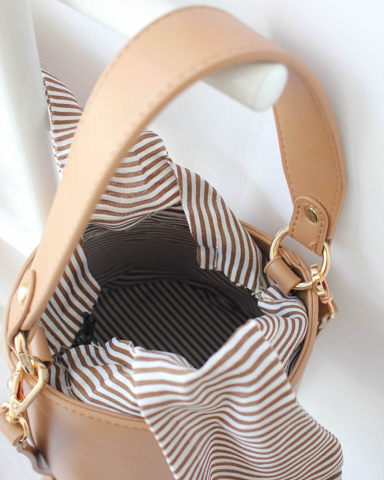 Ribbon Stripy Bucket Bag - LovelyMadness Clothing Malaysia