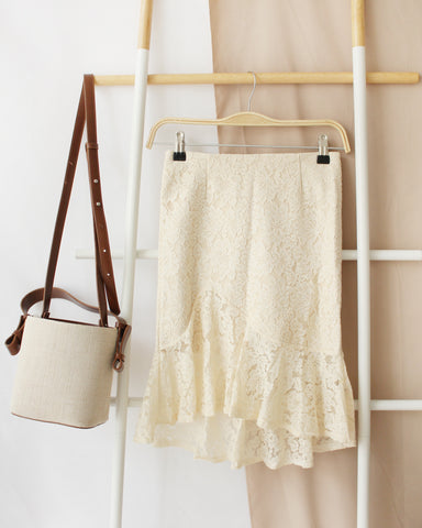 Korean Beige Ribbon Skirt
