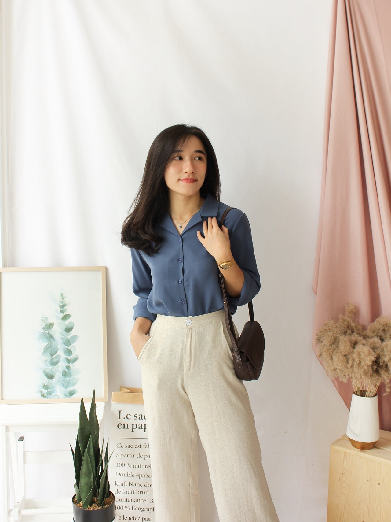ELINIE Collar Blouse (Anti- Wrinkle Fabric)