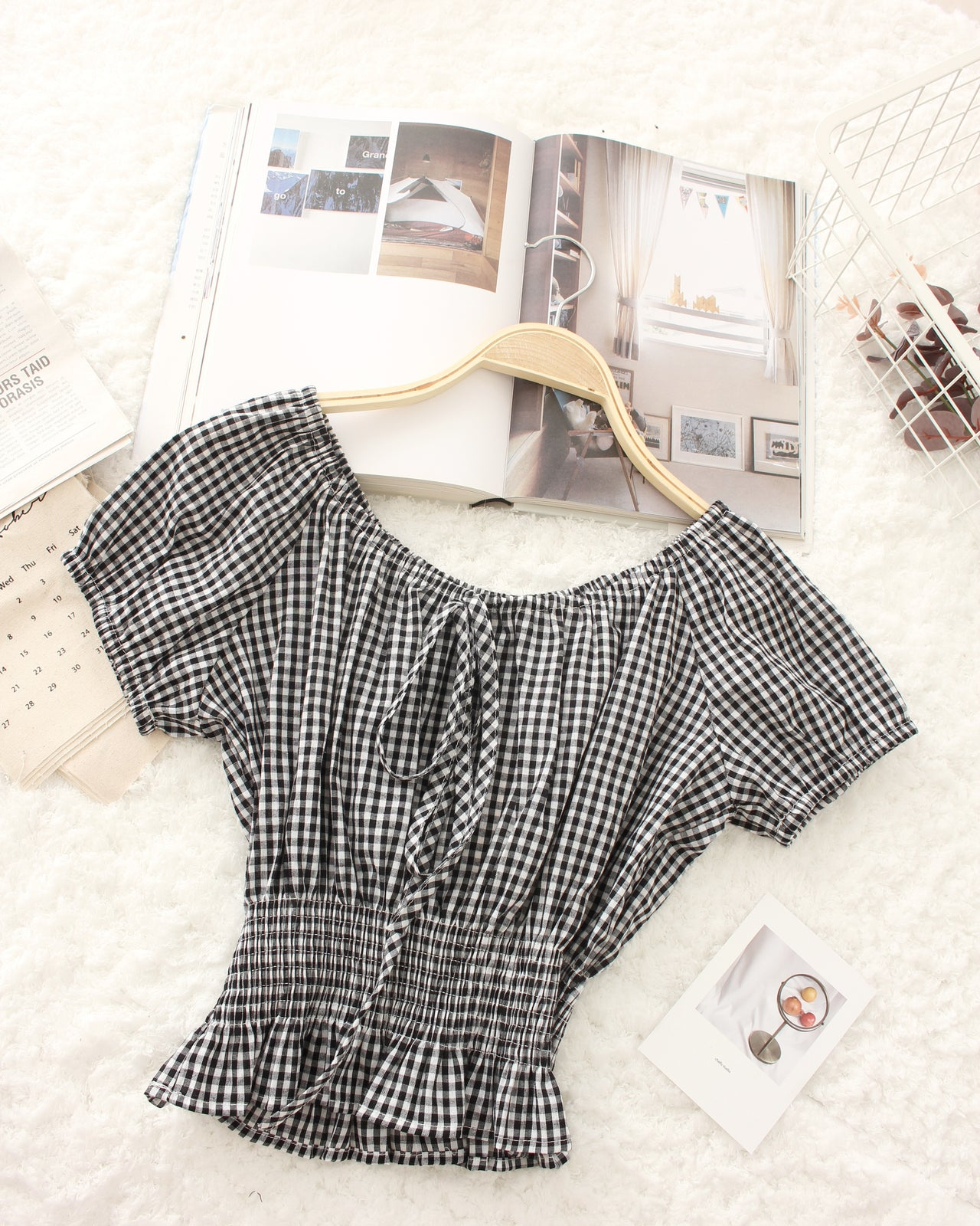 Ribbon Checkered Top - LovelyMadness Clothing Online Fashion Malaysia