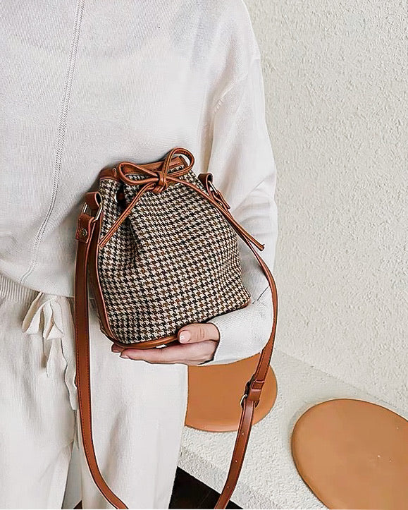 Checkered Bucket Bag - LovelyMadness Clothing Online Fashion Malaysia