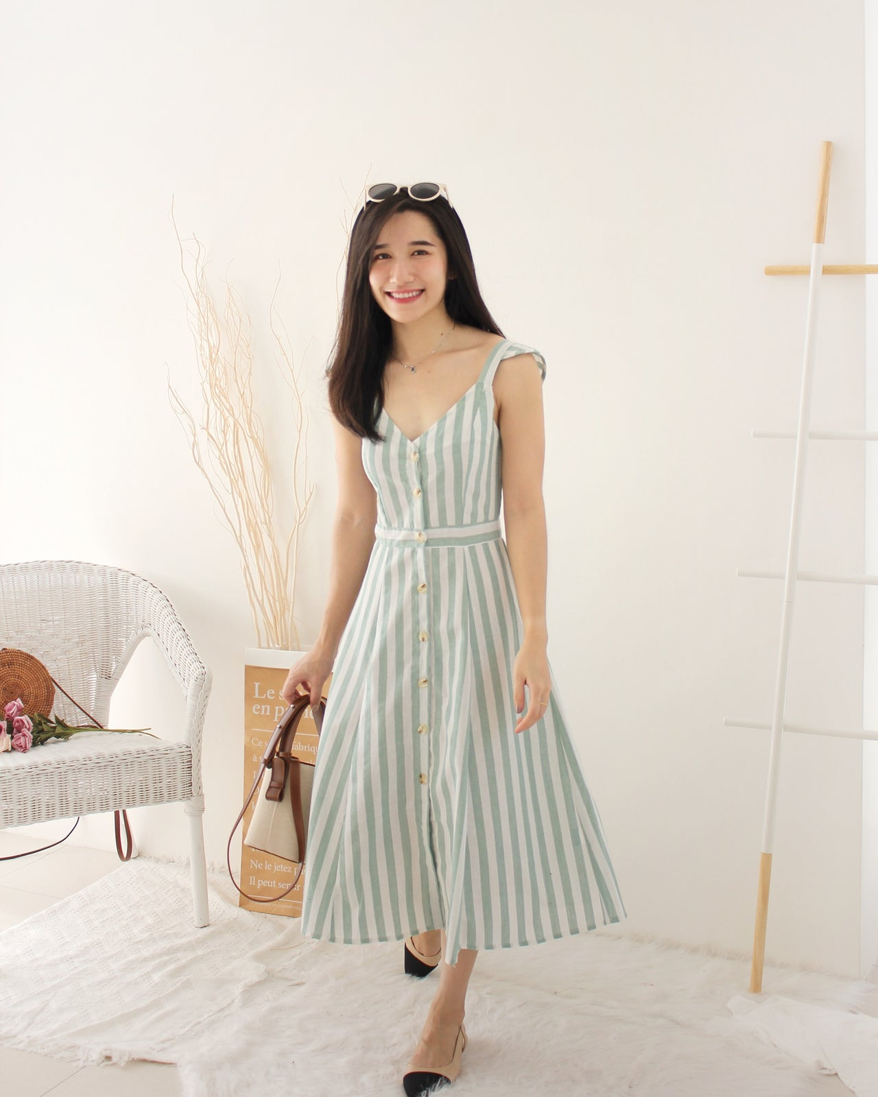 Ruffle Long Stripe Dress - LovelyMadness Clothing Online Fashion Malaysia