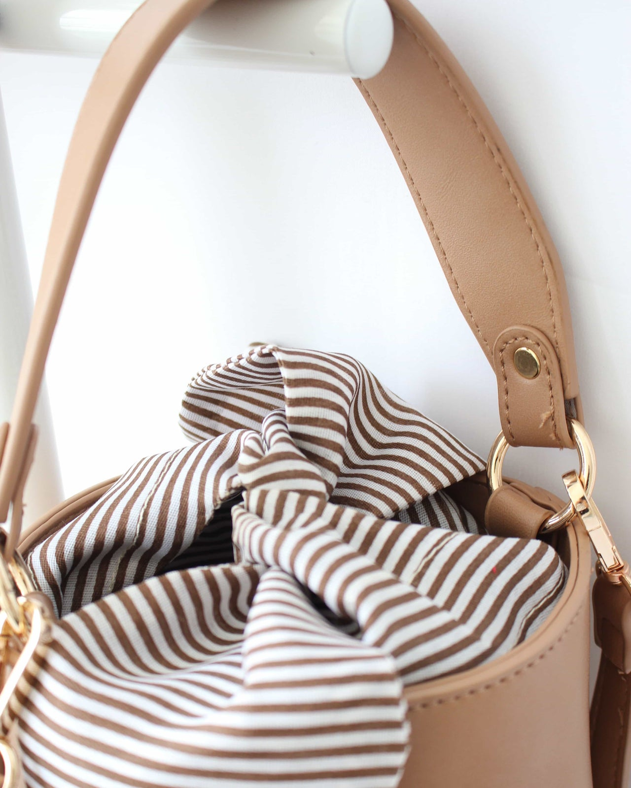 Ribbon Stripy Bucket Bag - LovelyMadness Clothing Online Fashion Malaysia