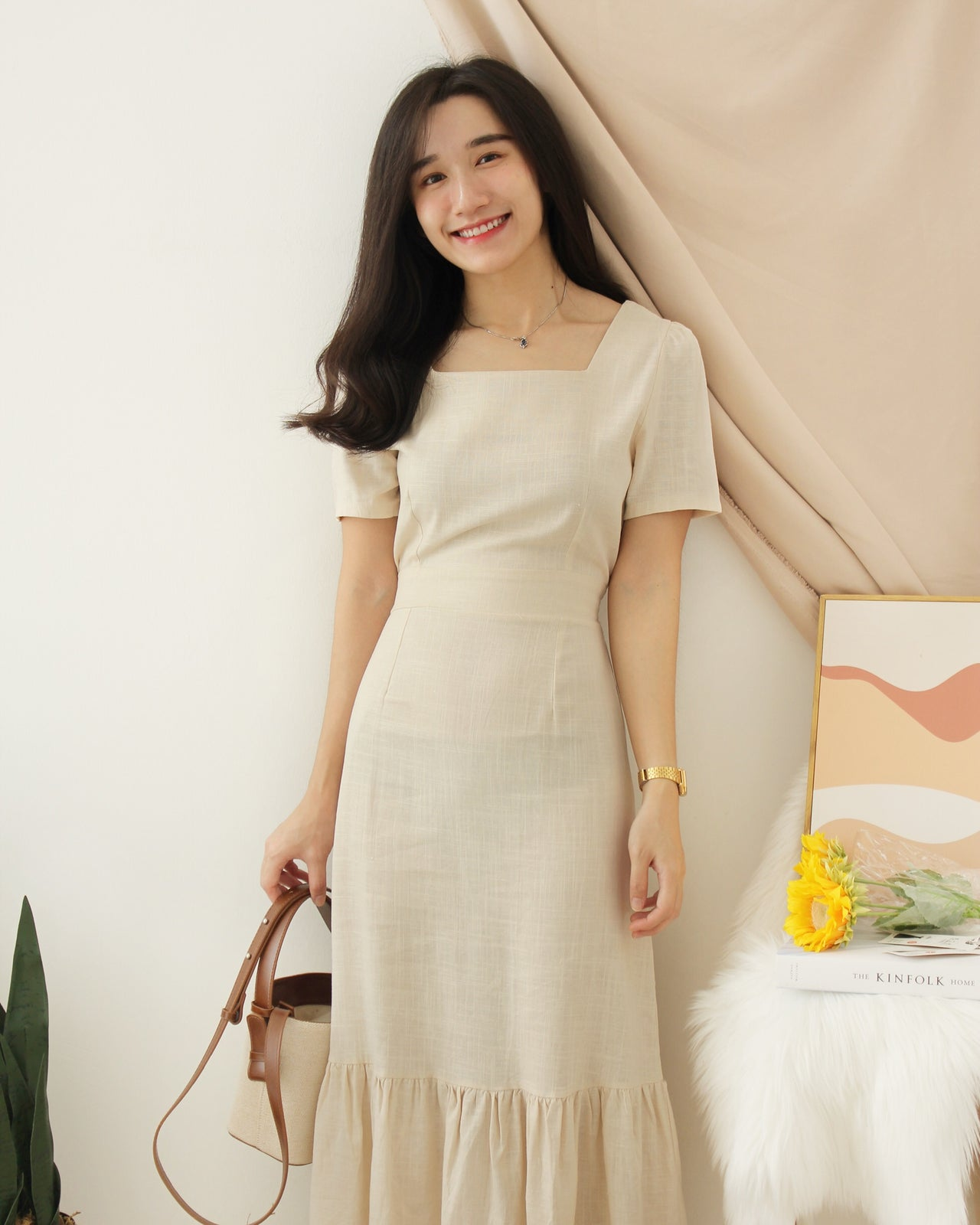 Korean Ramie Ruffle Dress