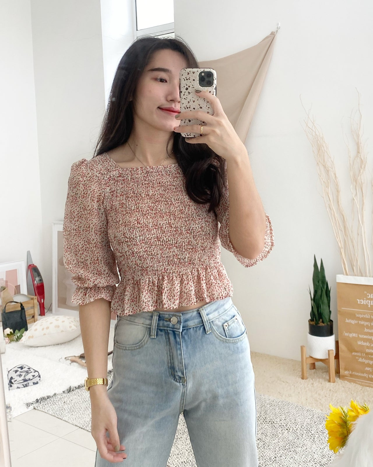 Korean Floral Puffy Top