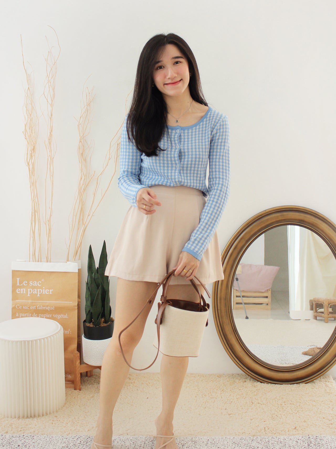 PASTEL Plaid Button Top