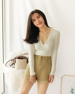 Deep V Wrap Long Sleeve - LovelyMadness Clothing Online Fashion Malaysia