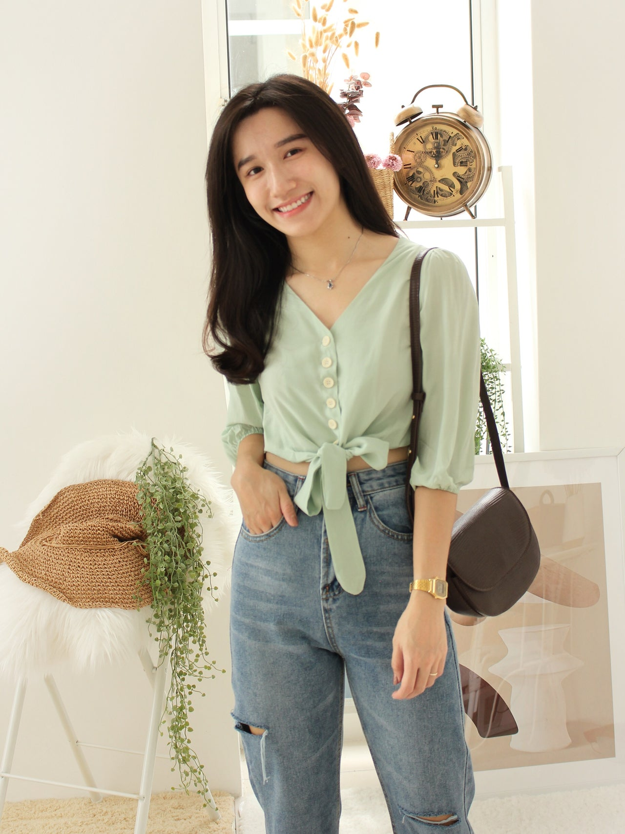 Tasha Button Top