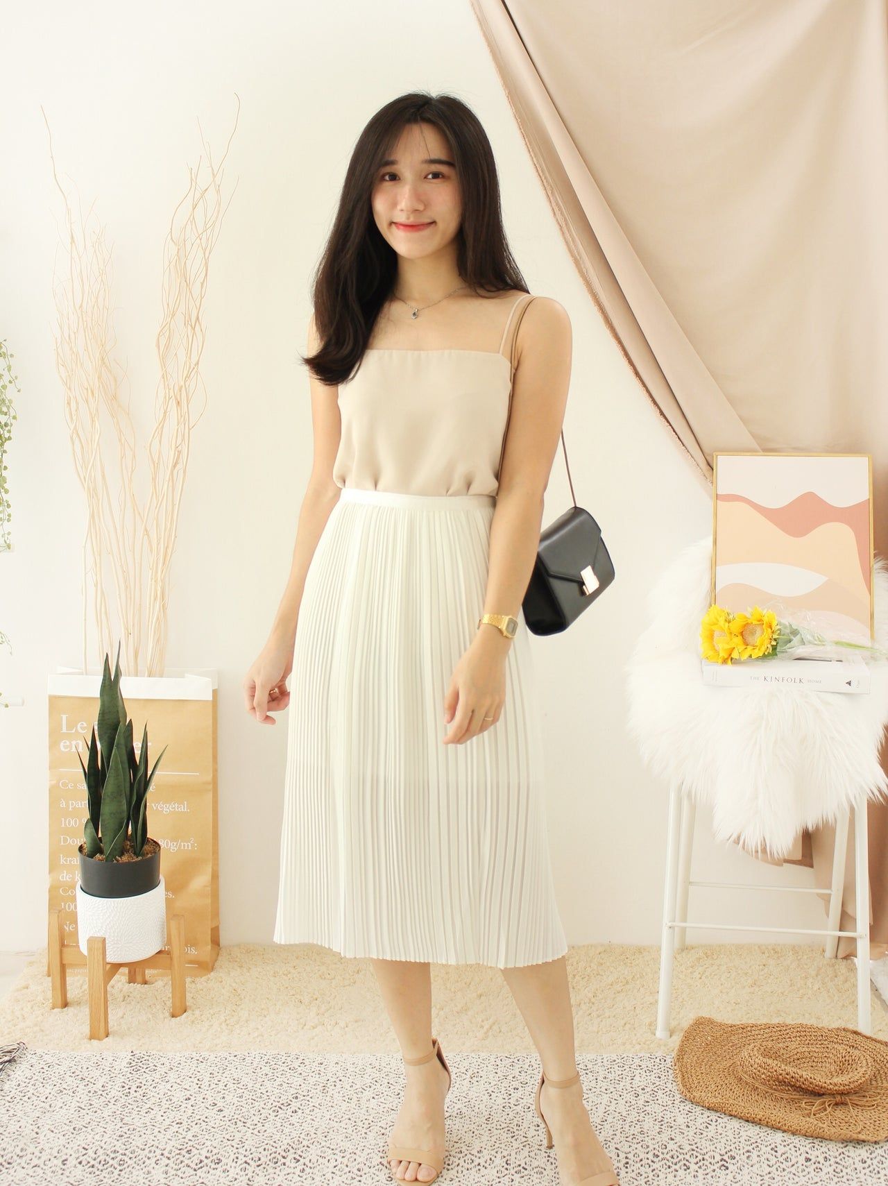 KALEY White Pleat Dress