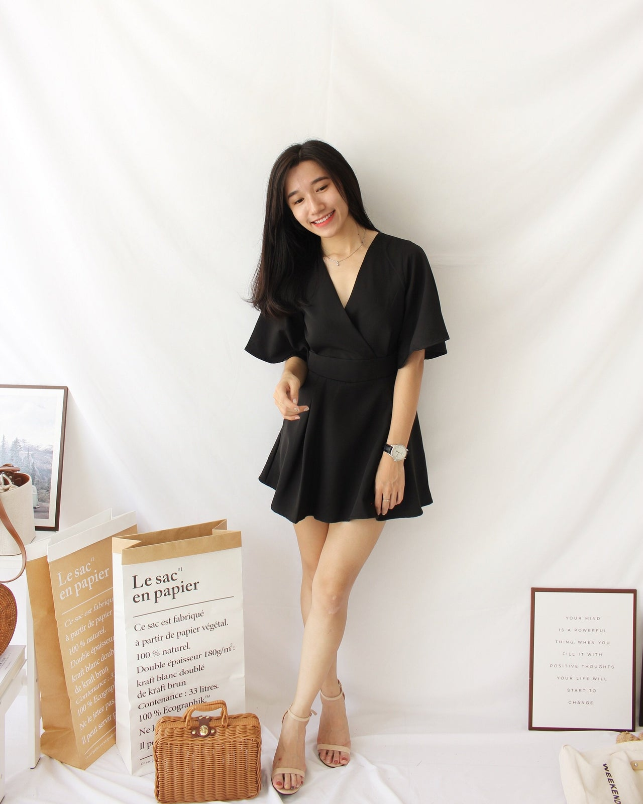 Deep V Flare Romper - LovelyMadness Clothing Online Fashion Malaysia