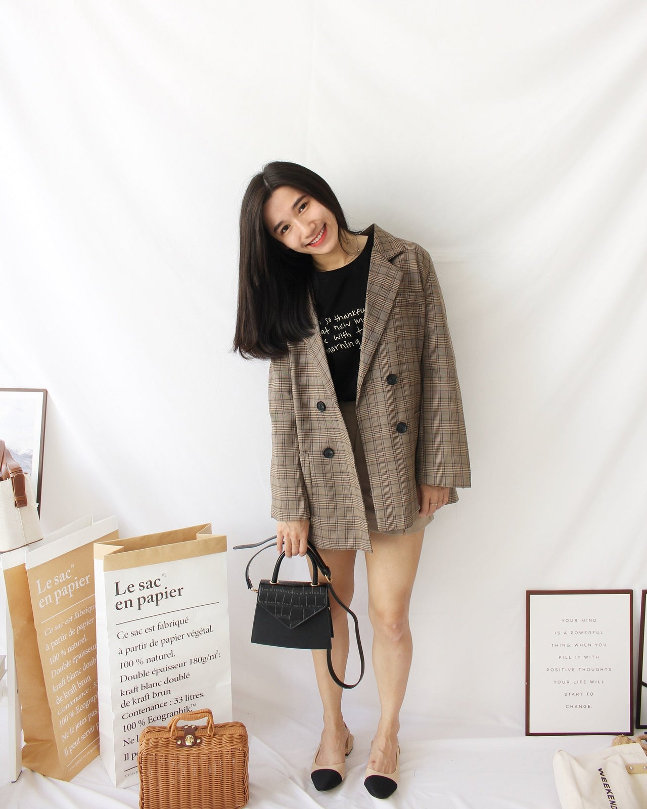 Checkered Blazer (BROWN) - Lovely Madness