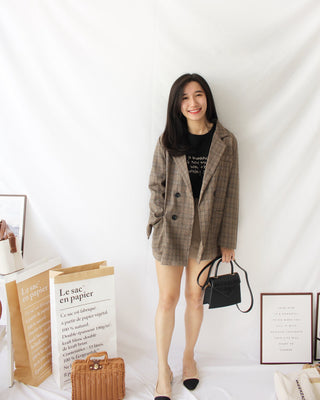 Checkered Blazer (BROWN) - LovelyMadness Clothing Online Fashion Malaysia