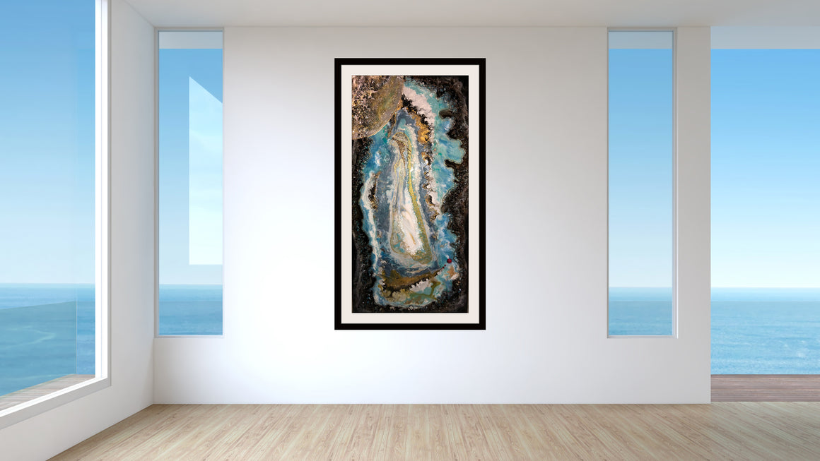 resin art, mixed media painting, madonna, geode, modern art, contemporary art