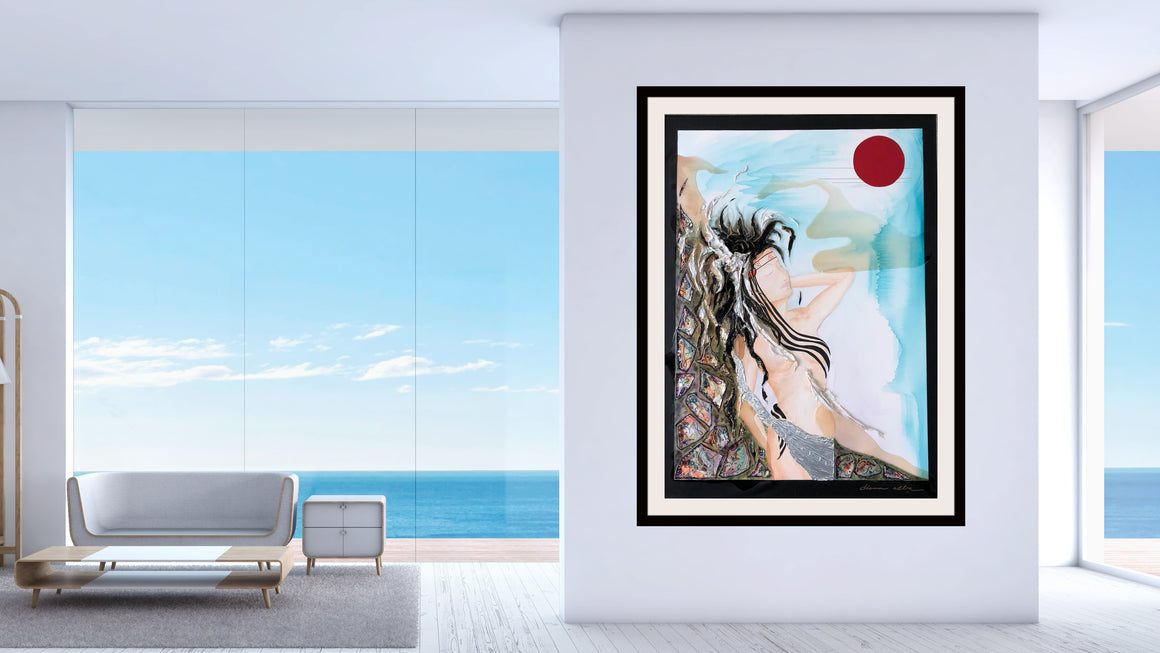 resin art, mixed media painting, contemplation, modern art, contemporary art