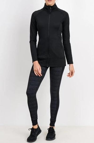 JP Long Line Activewear Jacket - Blk