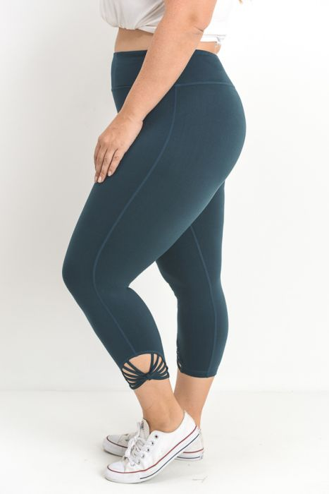 JP Signature Fan Capri Leggings - Teal