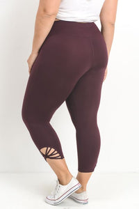 JP Signature Fan Capri Leggings - Magenta