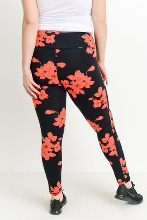 High Waist Hibiscus Leggings