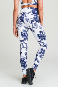 High Waist Flower Leggings - Ultramarine