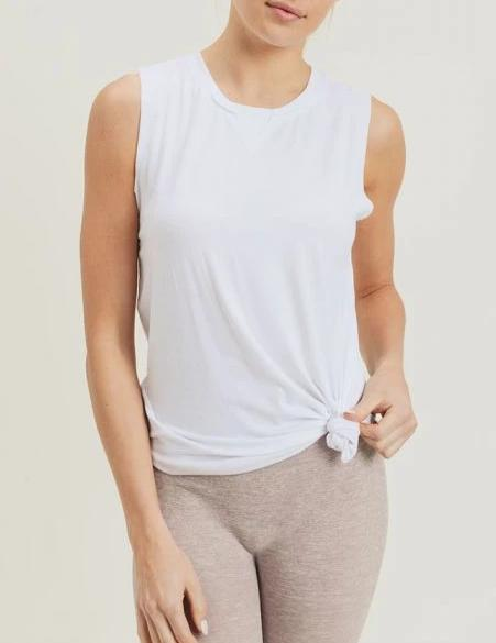 Athleisure Muscle Tank Top - White