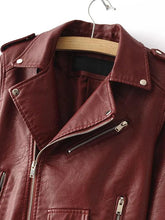 Brown Faux Leather Belted Jacket With Zipper