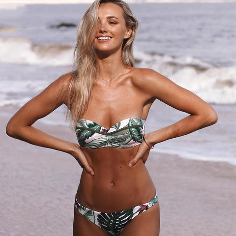 Leaf Print Push Up Bikini