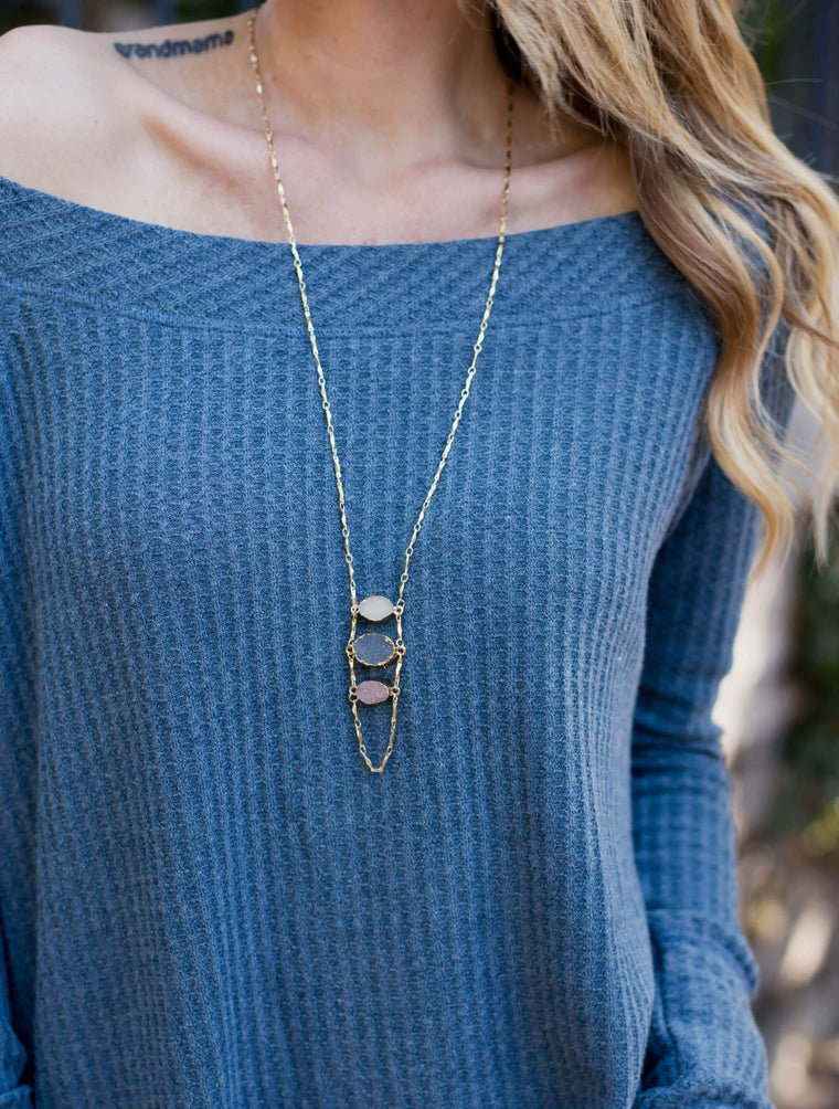 Oval Druzy Trio Necklace