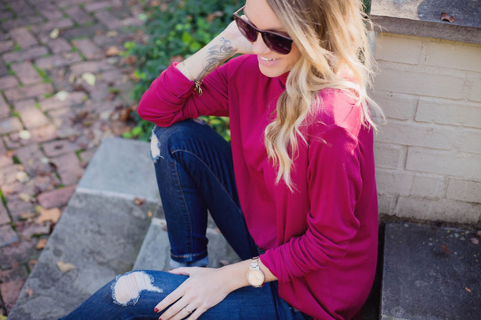Burgundy Cut-Out Turtleneck Top