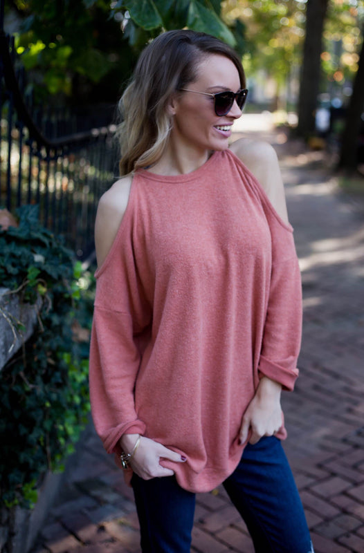 Cashmere Cold Shoulder Top