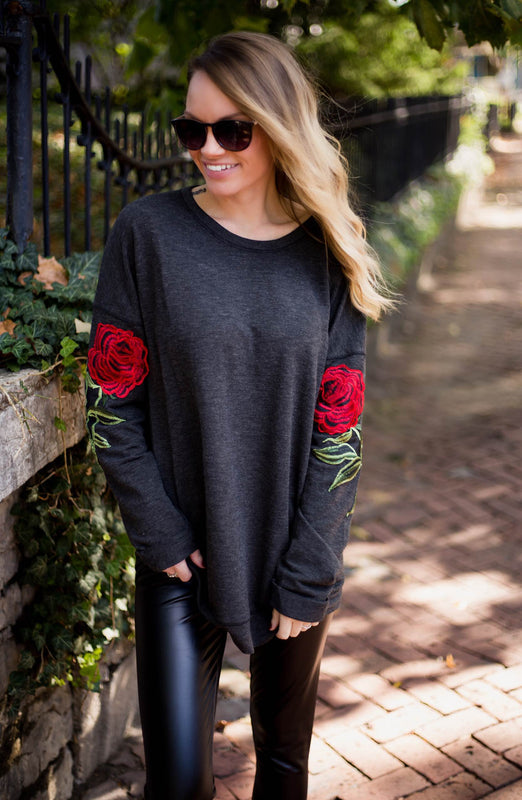 Rose Embroidered Pullover Top