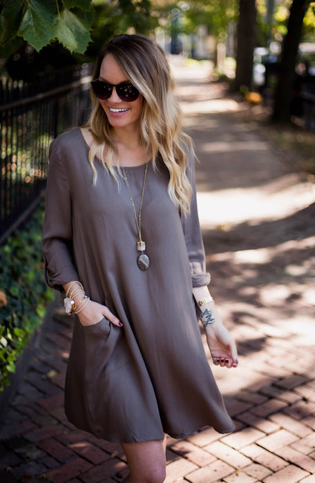 Olive Pocket Shift Dress