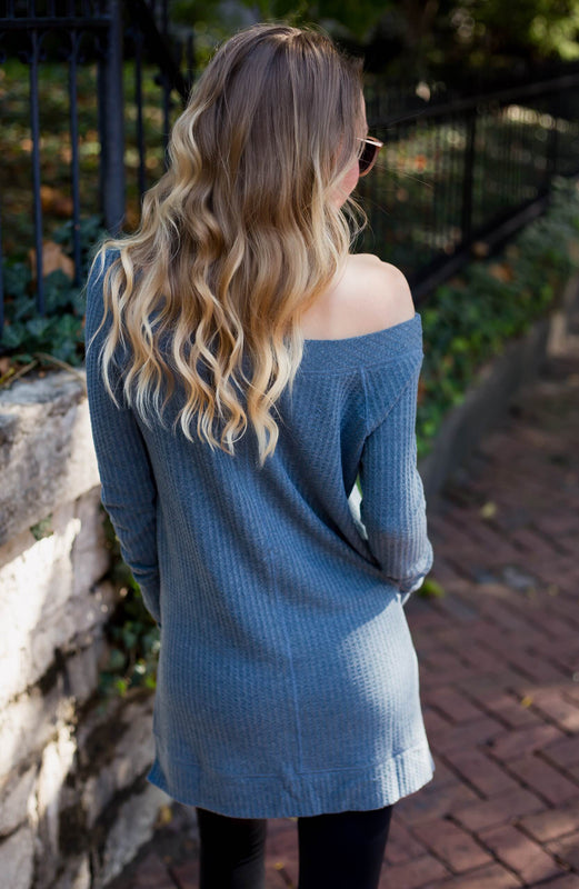 Off The Shoulder Waffle Sweater