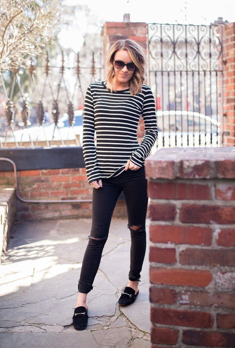 Elbow Patch Striped Sweater
