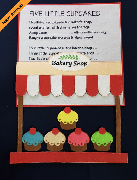 Felt Nursery Rhymes - 5 Little Cupcakes - JustRead.com.au