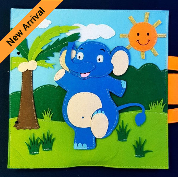 Quiet Book - Elephant with Personalised Name