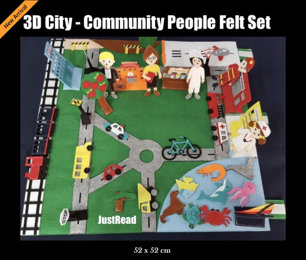 Felt Set - 3D City Community People with Personalised Bag - JustRead.com.au