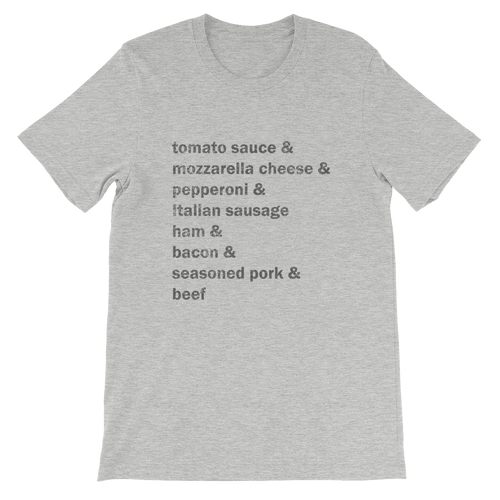 the meat lover's Unisex short sleeve t-shirt