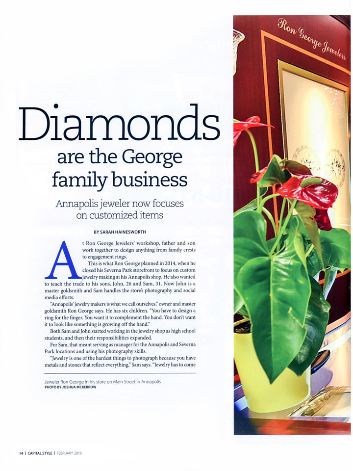 Capital Style magazine February 2016 Ron George Jewelers page 14.