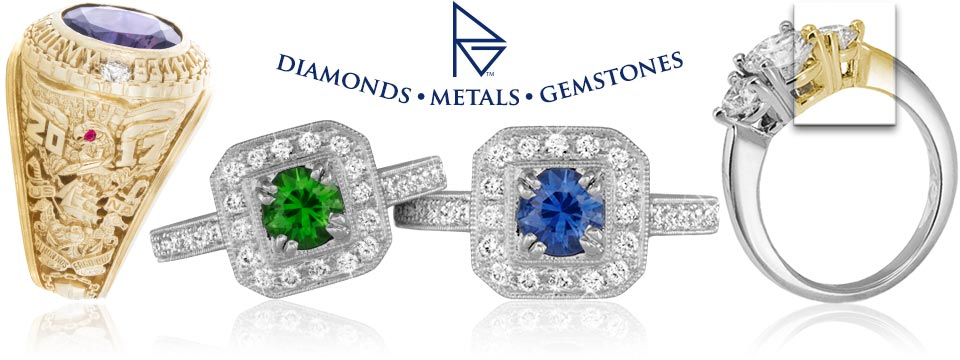 Custom jewelry modifications including diamonds, gemstones, and metals. Only at Ron George Jewelers.