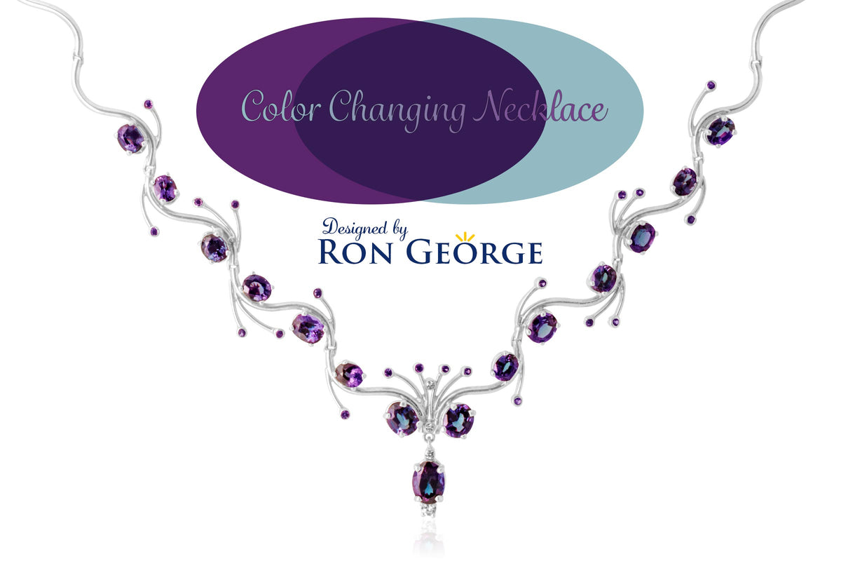 Custom designed necklace with color changing gemstones by designer Ron George.