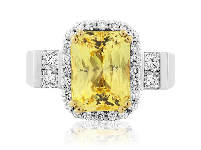Canary diamond ring design by Ron George with halo and princess cut diamonds.