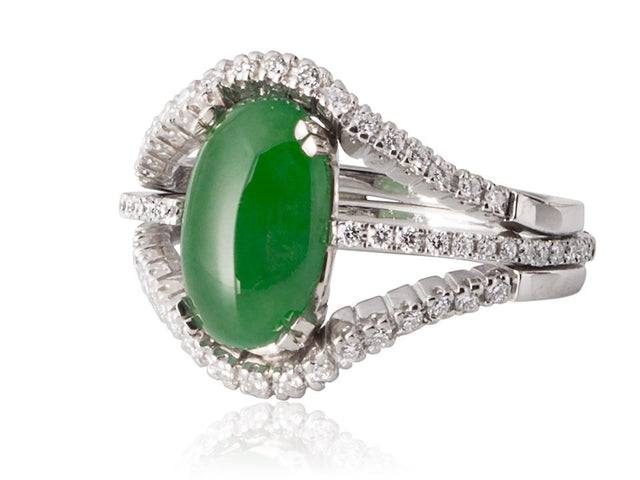 Jade ring design with triple split band containing by designer Ron George.