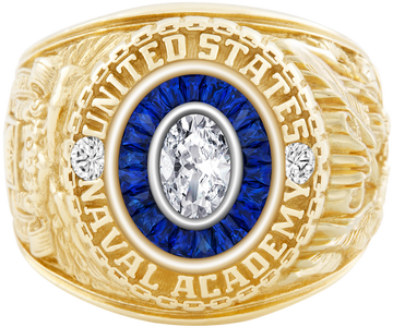 USNA Class Ring, Diamond, Eternal MX, Sapphire, Diamonds