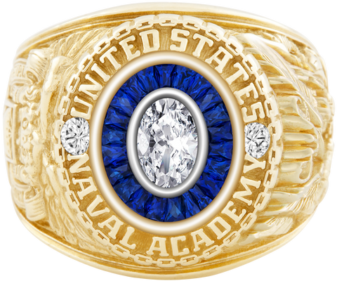 USNA Class Ring, Diamond, Eternal MX™ Saphire, Diamond